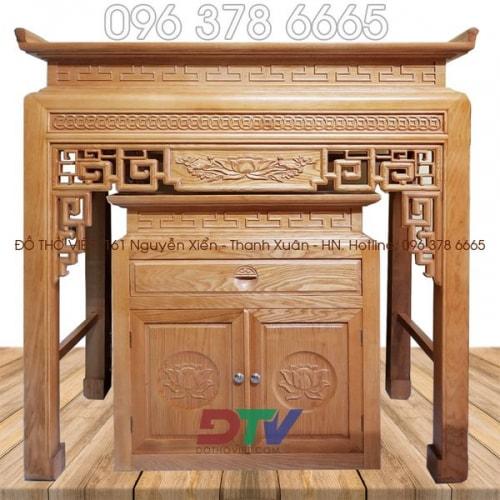 Bàn thờ chung cư triện đồng tiền kích thước 127 gỗ sồi BTD12
