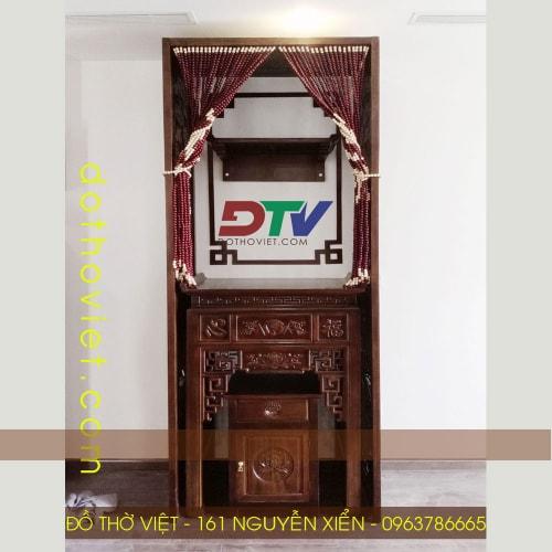 Bộ bàn thờ gỗ gõ đỏ và vách ngăn kích thước 89