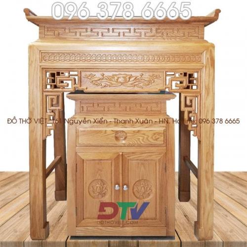 Bàn thờ chung cư triện đồng tiền kích thước 107 gỗ sồi BTD11