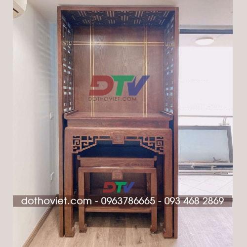 Bộ bàn thờ vách ngăn gỗ sồi mẫu đơn giản 18