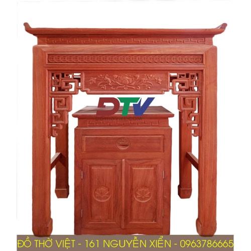 Bàn thờ gỗ hương đỏ kích thước 107