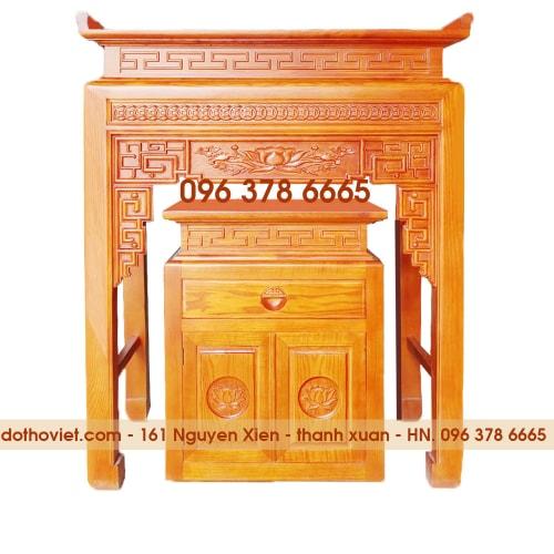 Bàn thờ chung cư gỗ sồi khắc nền dễ lau chùi