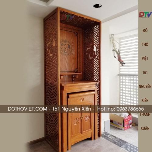 Bộ bàn thờ gỗ gõ đỏ và vách ngăn trọn bộ kích thước 89