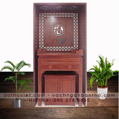 Bộ bàn thờ gỗ gõ vách ngăn cnc dành cho chung cư